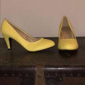 Women's cute yellow low heels